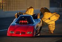 Nov 12, 2010; Pomona, CA, USA; NHRA funny car driver Gary Densham during qualifying for the Auto Club Finals at Auto Club Raceway at Pomona. Mandatory Credit: Mark J. Rebilas-