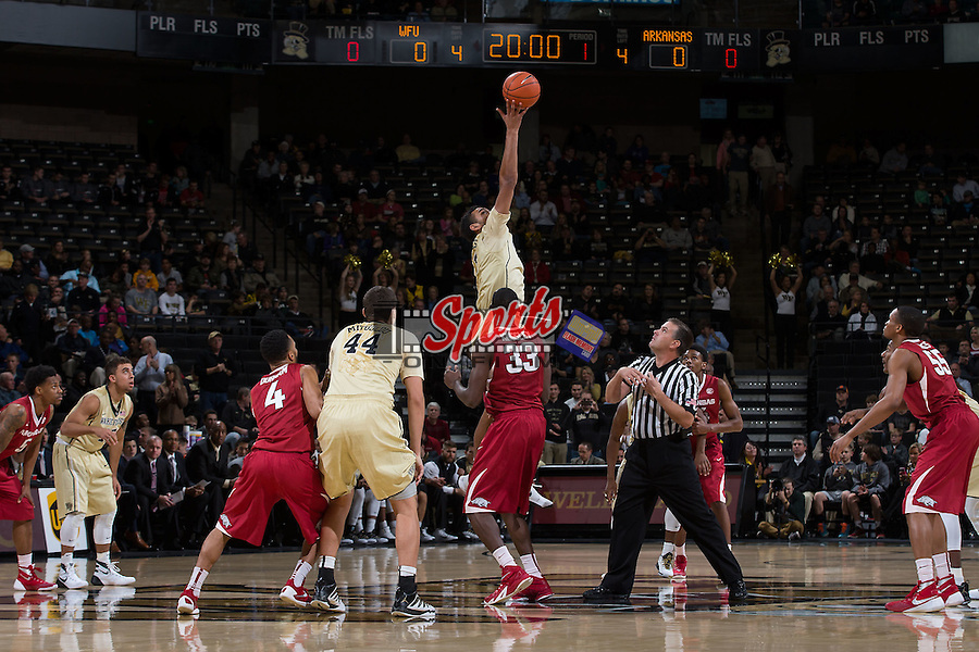 Devin Thomas (2) of the Wake Forest Demon Deacons wins the opening tip against the Arkansas Razorbacks at the LJVM Coliseum on December 4, 2015 in Winston-Salem, North Carolina.  The Demon Deacons defeated the Razorbacks 88-85.  (Brian Westerholt/Sports On Film)