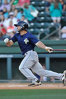 Second baseman Vinny Siena (9) of the Columbia Fireflies bats in a game against the Greenville Drive on Saturday, April 23, 2016, at Fluor Field at the West End in Greenville, South Carolina. Columbia won, 7-3. (Tom Priddy/Four Seam Images)