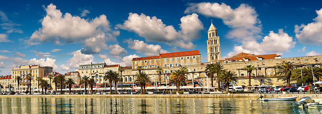 Exterior Wall of Diocletian's, palace,  with the bell tower  of the Cathedral of St Doimus dedicated to the Virgin mary, originally built onto the octagonal 4th cent AD mausoleum of  Roman Emperor Diocletian. Diocletian's, palace, Split, Croatia. A UNESCO World Heritage Site