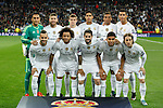 Real Madrid´s initial team players before Champions League soccer match between Real Madrid  and Paris Saint Germain at Santiago Bernabeu stadium in Madrid, Spain. November 03, 2015. (ALTERPHOTOS/Victor Blanco)
