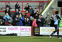 Wycombe Wanderers fands applaude team off pitch end of game<br /> <br /> <br /> during the Sky Bet League 2 match between Accrington Stanley and Wycombe Wanderers at the Wham Stadium, Accrington, England on 16 March 2016. Photo by Tony (KIPAX) Greenwood / PRiME Media Images.