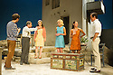 London, UK. 31.05.2016. SUNSET AT THE VILLA THALIA, by Alexei Kaye Campbell, opens at the Dorfman, at the National Theatre. Directed by Simon Godwin. Picture shows: Sam Crane (Theo), Christos Callow (Stamatis), Glykeria Dimou (Maria), Elizabeth McGovern (June), Pippa Nixon (Charlotte), Ben Miles (Harvey). Photograph © Jane Hobson.