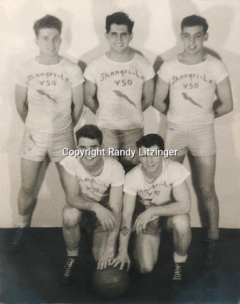 U.S.S. Shangri-La (CV-38) V-50 Basketball team - 1944 or 1945<br /> <br /> back: Homer 'Red' Ellis?, Henry Bartelloni, and Harry Barnes <br /> front:  John 'Jack' Fogarty and James 'Tom' Thompson  <br /> <br /> -- Photo By Wade Litzinger