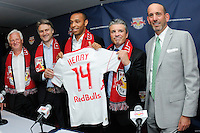 New York Red Bulls head coach Hans Backe, Head of Red Bull Global Soccer Dietmar Beiersdorfer, Thierry Henry, sporting director/GM Erik Soler, and Major League Soccer Commissioner Don Garber during a New York Red Bulls press conference at Red Bull Arena in Harrison, NJ, on July 15, 2010.