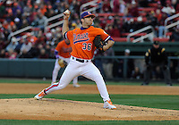 Reliever Matt Campbell (36) of the Clemson Tigers pitches the final inning in a 6-3 win over the South Carolina Gamecocks on Saturday, March 2, 2013, at Fluor Field at the West End in Greenville, South Carolina. (Tom Priddy/Four Seam Images)