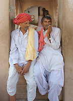 two man chatting in  holy city Pushkar, Rajastan, India