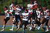 Plainedge varsity football teammates celebrate after a thrilling 38-34 win over host Lawrence High School in Nassau County Conference III play on Saturday, Sept. 23, 2017.