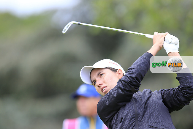 Carlota Ciganda (ESP) tees off the 5th tee during Saturday's Round 3 of The 2016 Evian Championship held at Evian Resort Golf Club, Evian-les-Bains, France. 17th September 2016.<br /> Picture: Eoin Clarke | Golffile<br /> <br /> <br /> All photos usage must carry mandatory copyright credit (&copy; Golffile | Eoin Clarke)