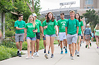 August 18, 2018; Students leave their Moreau First Year Experience classes on Welcome Weekend 2018. (Photo by Matt Cashore/University of Notre Dame)