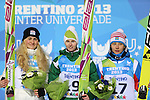 Ladies podium with from left Michaela Dolezelova CZE, Katja Pozun (SLO) and Russia's Irina Avvakumova at the Normal Hill Ski Jumping event as part of the Winter Universiade Trentino 2013 on 14/12/2013 in Predazzo, Italy.<br /> <br /> &copy; Pierre Teyssot - www.pierreteyssot.com