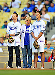 23 July 2011: The Los Angeles Dodgers honor the Drysdale family on the date that would have been Hall of Famer Don Drysdale's 75th birthday, prior to a game against the Washington Nationals at Dodger Stadium in Los Angeles, California. The Dodgers rallied to defeat the Nationals 7-6 on a Rafael Furcal walk-off, RBI double in the bottom of the 9th inning. Mandatory Credit: Ed Wolfstein Photo