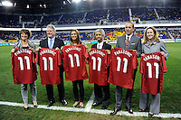 Joe Taylor, Alex Morgan, Sunil Gulati, Don Garber, Kathy Carter. The men's national team of the United States (USA) was defeated by Ecuador (ECU) 1-0 during an international friendly at Red Bull Arena in Harrison, NJ, on October 11, 2011.