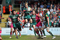 Matthew Tait of Leicester Tigers claims the ball in the air. Aviva Premiership match, between Leicester Tigers and London Welsh on April 25, 2015 at Welford Road in Leicester, England. Photo by: Patrick Khachfe / JMP