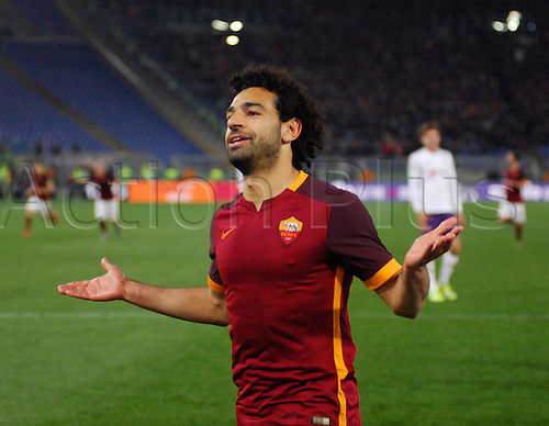 04.03.2016. Stadium Olimpico, Rome, Italy.  Serie A football league. AS Roma versus Fiorentina. Salah celebrates his goal
