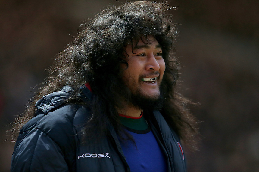 Leicester Tigers' Logovi'i Mulipola warming up during the first half<br /> <br /> Photographer Rachel Holborn/CameraSport<br /> <br /> Rugby Union - Aviva Premiership Round 9 - Leicester Tigers v Northampton Saints - Saturday 9th January 2016 - Welford Road - Leicester<br /> <br /> &copy; CameraSport - 43 Linden Ave. Countesthorpe. Leicester. England. LE8 5PG - Tel: +44 (0) 116 277 4147 - admin@camerasport.com - www.camerasport.com