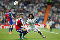 Marcelo of Real Madrid and Xhaka of FC Basel 1893 during the Champions League group B soccer match between Real Madrid and FC Basel 1893 at Santiago Bernabeu Stadium in Madrid, Spain. September 16, 2014. (ALTERPHOTOS/Caro Marin) /NortePhoto.com