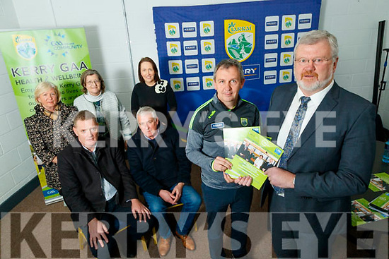 """Picture at the launch of """"How to age well"""" on Tuesday last were front l-r: Peter Keane (Kerry team manager), Eoin Liston, Tim Murphy (Kerry County Board chairman) and Jimmy Mulligan (St. Pat's Blennerville). Back l-r: Bernie Reen (Kerry County Board Children's Officer), Áine Ní Shúilleabháin (Secretary of Kerry health and wellbeing committee) and Leona Twiss (PRO Kerry County Board)."""