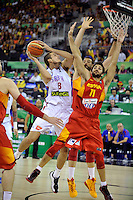 Serbia´s BJELICA, Nemanja  and Spain's  RUBIO, Ricky during 2014 FIBA Basketball World Cup Group Phase-Group A, match Serbia vs Spain. Palacio  Deportes of Granada. September 4,2014. (ALTERPHOTOS/Raul Perez)