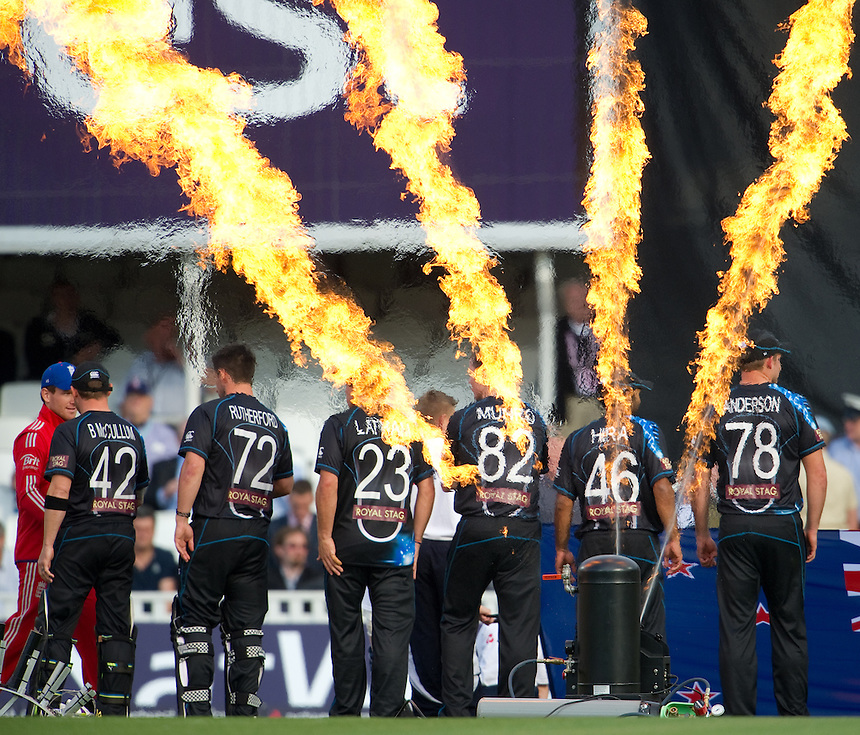 New Zealand players line up to greet England's Eoin Morgan at the start of the T20<br /> <br />  (Photo by Ashley Western/CameraSport) <br /> <br /> International Cricket - NatWest International T20 Series - England v New  Zealand - Tuesday 25th June 2013 - The Kia Oval, London <br /> <br />  &copy; CameraSport - 43 Linden Ave. Countesthorpe. Leicester. England. LE8 5PG - Tel: +44 (0) 116 277 4147 - admin@camerasport.com - www.camerasport.com