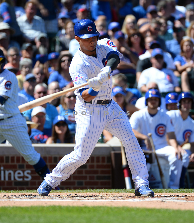 Chicago Cubs Wilson Contreras (40) during a game against the San Francisco Giants on September 3, 2016 at Wrigley Field in Chicago, IL. The Giants beat the Cubs 3-2.