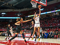 COLLEGE PARK, MD - FEBRUARY 9: Shakira Austin #1 of Maryland shoots a basket during a game between Rutgers and Maryland at Xfinity Center on February 9, 2020 in College Park, Maryland.