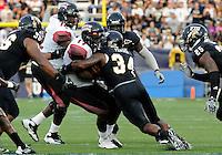 Florida International University football player linebacker Winston Fraser (34) plays against  University of Louisiana-Lafayette on September 24, 2011 at Miami, Florida. Louisiana-Lafayette won the game 36-31. .