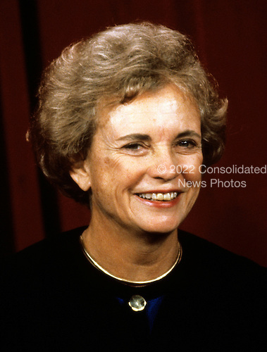 Associate Justice of the United States Supreme Court Sandra Day O'Connor poses for a photo during a photo-op at the U.S. Supreme Court in Washington, D.C. on Tuesday, September 11, 1990.  O'Connor, the first woman to serve as an Associate Justice, was appointed in 1981 by U.S. President Ronald Reagan..Credit: Robert Trippett / Pool via CNP