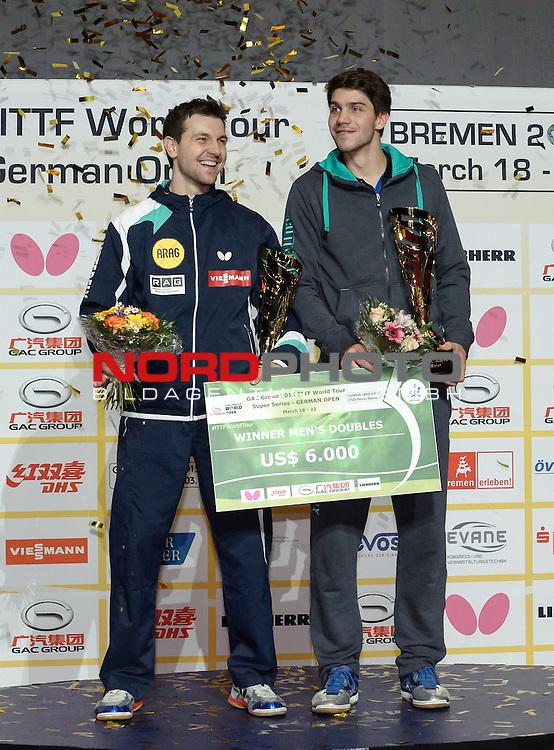 22.03.2015, &Ouml;VB Arena, Bremen, GER, GAC Group ITTF World Tour German Open, im Bild Siegerehrung Herren-Doppel 1. Platz: Timo Boll (GER) / Patrick Franziska (GER)<br /> <br /> Foto &copy; nordphoto / Frisch