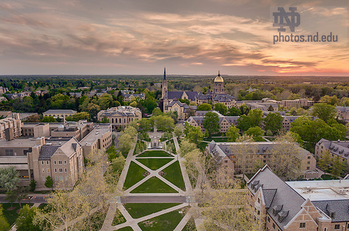 May 8, 2013;  Basilica of the Sacred Heart and Golden Dome at sunset. Photo by Barbara Johnston/University of Notre Dame