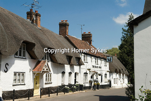 Thatched white cottage Monxton nr Andover Hampshire England. The village pub the Black Swan