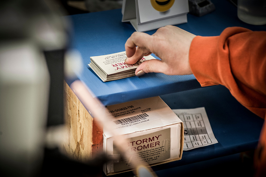 A step in the Stormy Kromer manufacturing process attaching the tag at the Ironwood, Michigan production facility.