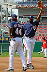 21 June 2008: Washington Nationals' roving instructor Devon White (right) gives tips to center fielder Lastings Milledge prior to a game against the Texas Rangers at Nationals Park in Washington, DC. The Nationals fell to the Rangers 13-3 in the second game of their 3-game inter-league series...Mandatory Photo Credit: Ed Wolfstein Photo