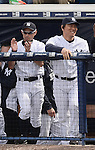 (L-R) Ichiro Suzuki,  Hideki Matsui (Yankees),<br /> FEBRUARY 27, 2014 - MLB :<br /> New York Yankees' Ichiro Suzuki and guest instructor Hideki Matsui are seen in the dugout during a spring training baseball game against the Pittsburgh Pirates at George M. Steinbrenner Field in Tampa, Florida, United States. (Photo by AFLO)