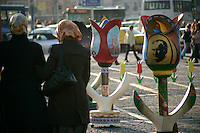 The Tulip Festival and headscarfed girls on Taksim Square, Istanbul, Turkey, April 2007