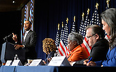 United States President Barack Obama at a Democratic National Committee (DNC) meeting, in Washington, DC, February 28, 2014. Obama rallied the party leaders for the upcoming 2014 mid-term elections by urging Democrats to stick to their platforms. <br /> Credit: Mike Theiler / Pool via CNP