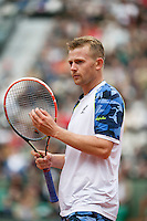 France, Paris, 27.05.2014. Tennis, French Open, Roland Garros,  Andrey Golubev (KAZ) in his match against Andy Murray (GBR) <br /> Photo:Tennisimages/Henk Koster