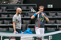 09-02-14, Netherlands,Rotterdam,Ahoy, ABNAMROWTT, Thiemo de Bakker(NED) with his coach Melle van Gemerden<br /> Photo:Tennisimages/Henk Koster