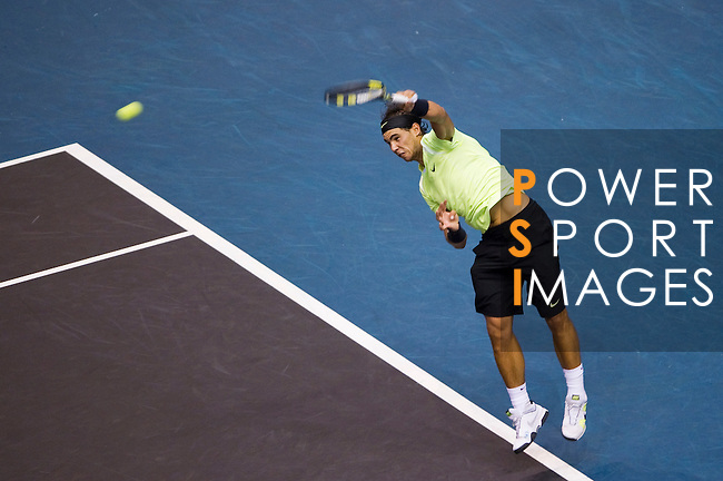 BANGKOK, THAILAND - OCTOBER 02:  Rafael Nadal of Spain serves against compatriot Guillermo Garcia-Lopez during the Day 8 of the PTT Thailand Open at Impact Arena on October 2, 2010 in Bangkok, Thailand. Photo by Victor Fraile / The Power of Sport Images