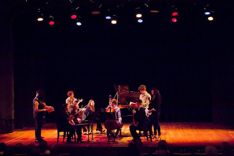 Port Townsend, Centrum, Chamber Music Workshop, June 16-21 2015, Fort Worden, Lucinda Carver and the Enso Quartet teaching, critiquing the Azalea Quartet, Alin Melik-Adamyan, piano, Fort Worden, Wheeler Theater, Washington State,