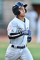 Pulaski Yankees second baseman Eduardo Torrealba (13) runs to first base during a game against the Elizabethton Twins at Joe O'Brien Field on June 27, 2016 in Elizabethton, Tennessee. The Yankees defeated the Twins 6-4. (Tony Farlow/Four Seam Images)