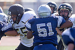 Torrance, CA 09/05/13 - Sam Sayegh (Peninsula #55) in action during the Peninsula vs North Junior Varsity football game played at North High School in Torrance, California.