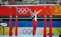Aug. 9, 2008; Beijing, CHINA; Jonathan Horton (USA) performs on the parallel bars during mens gymnastics qualification during the Olympics at the National Indoor Stadium. Mandatory Credit: Mark J. Rebilas-