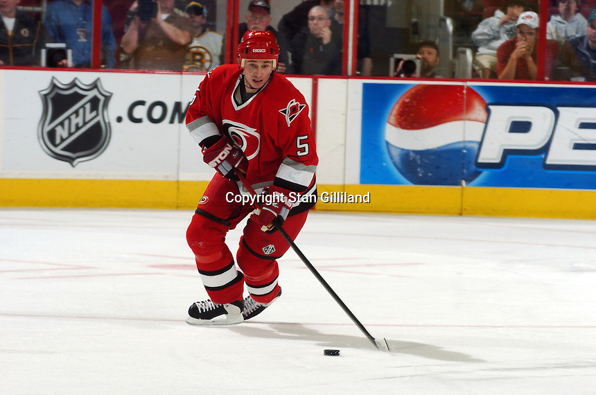 Carolina Hurricanes' Frantisek Kaberle brings the puck up the ice against the Boston Bruins at the RBC Center in Raleigh, NC Wednesday, March 1, 2006. The Hurricanes won 4-3...