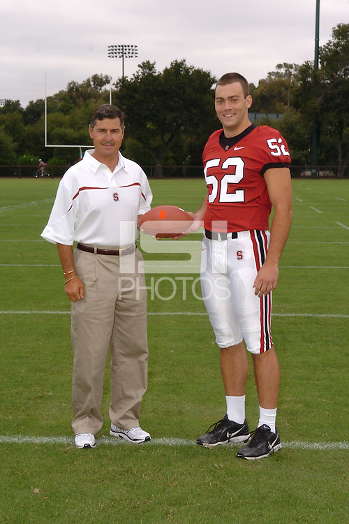 7 August 2006: Stanford Cardinal head coach Walt Harris and Brent Newhouse during Stanford Football's Team Photo Day at Stanford Football's Practice Field in Stanford, CA.
