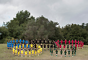 24th October 2017, Olympia Greece; Athletes wearing different colours form the olympic symbol at a ceremonial lighting of the olympic torch in Olympia, Greece. The South Korean city of Pyeongchang is hosting the 2018 Winter Olympics.e