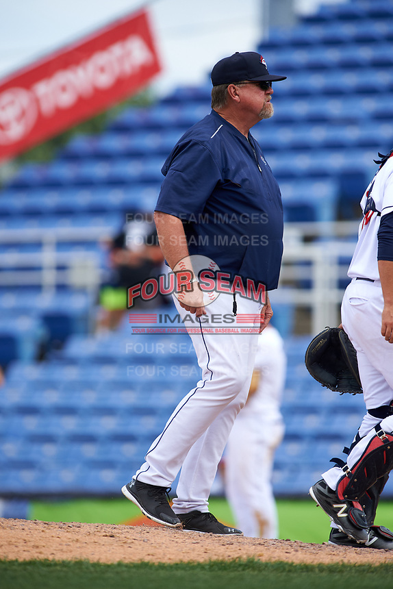 Binghamton Rumble Ponies pitching coach Glenn Abbott (55) during a game against the Hartford Yard Goats on July 9, 2017 at NYSEG Stadium in Binghamton, New York.  Hartford defeated Binghamton 7-3.  (Mike Janes/Four Seam Images)