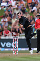 New Zealand's Mitchell Santner bowling. New Zealand Blackcaps v England. One Day International Cricket. Seddon Park, Hamilton, New Zealand on Sunday 25 February 2018.<br /> <br /> Copyright photo: &copy; Bruce Lim / www.photosport.nz