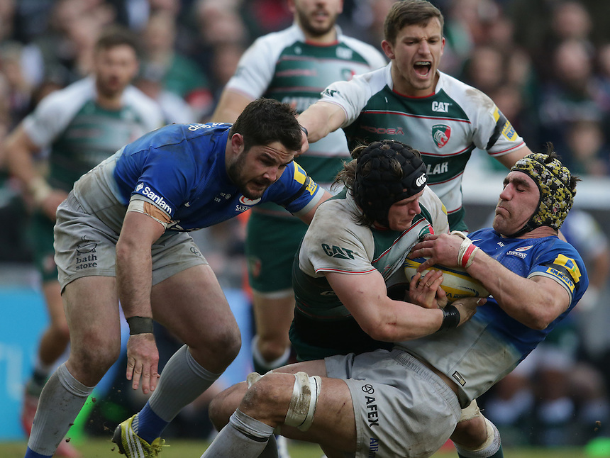 Saracens' Kelly Brown is tackled by Leicester Tigers' Harry Thacker<br /> <br /> Photographer Stephen White/CameraSport<br /> <br /> Rugby Union - Aviva Premiership Round 17 - Leicester Tigers v Saracens - Sunday 20th March 2016 - Welford Road - Leicester <br /> <br /> &copy; CameraSport - 43 Linden Ave. Countesthorpe. Leicester. England. LE8 5PG - Tel: +44 (0) 116 277 4147 - admin@camerasport.com - www.camerasport.com