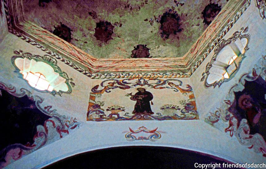 AZ: Tucson--San Xavier Del Bac Interior, Supports of domed crossing. Photo '96.
